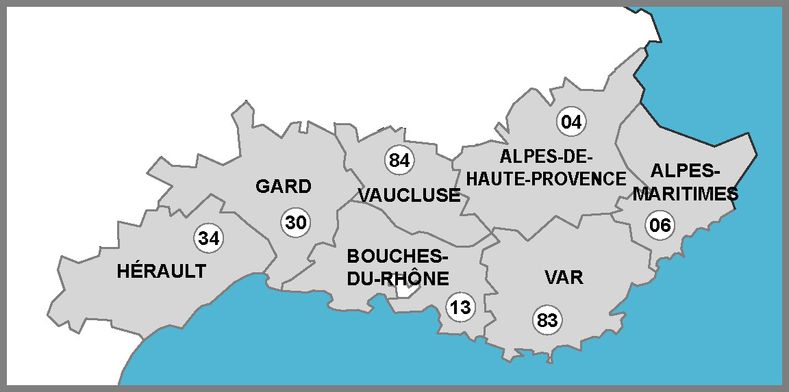 Zones d'intervention - R&D Maintenance Mobilier Hospitalier - (Paca - 30 - 34)